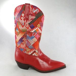 VTG Red Leather Woven Design Point Toe Cowboy Boot